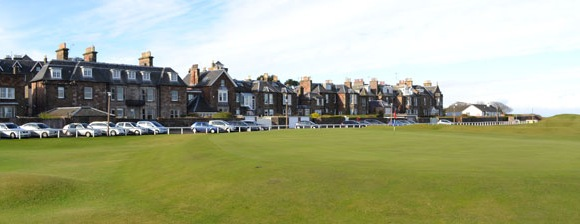 The Apartment is shown to the left with the golf course in the foreground.